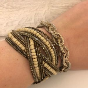 Gold beaded and metallic bracelet set of 2